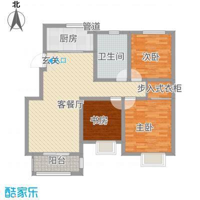泰和名都111.20㎡一期1#楼标准层A户型3室2厅1卫1厨
