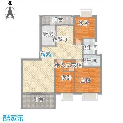 名人港湾3133.42㎡3#B户型3室2厅2卫1厨