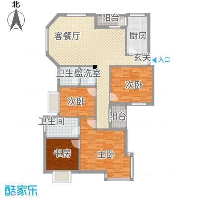 名人港湾1141.28㎡1#A户型3室2厅2卫1厨