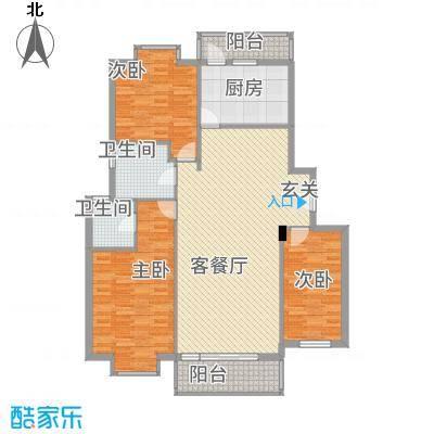 名人港湾1.20㎡1#C户型3室2厅2卫1厨