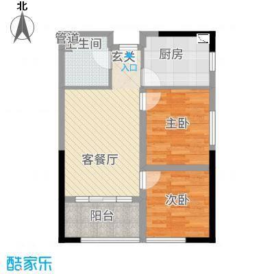 誉峰・财富中心78.42㎡G户型2室1厅1卫1厨