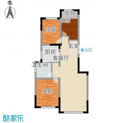 源山别院12.20㎡高层标准层B户型3室2厅1卫1厨