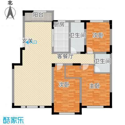 源山别院158.20㎡洋房标准层C户型3室2厅2卫1厨