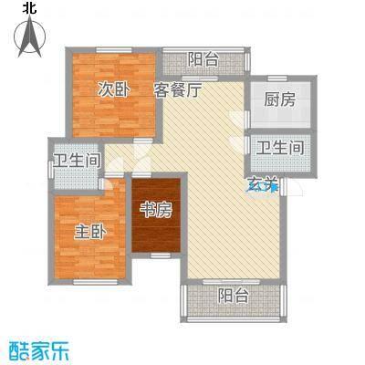 姜水龙湾二期32126.82㎡E户型3室2厅2卫1厨