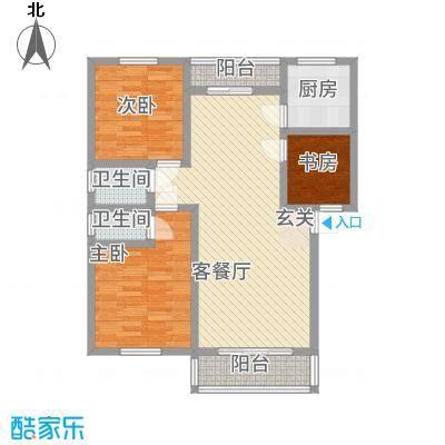 姜水龙湾二期32113.42㎡F户型3室2厅2卫1厨