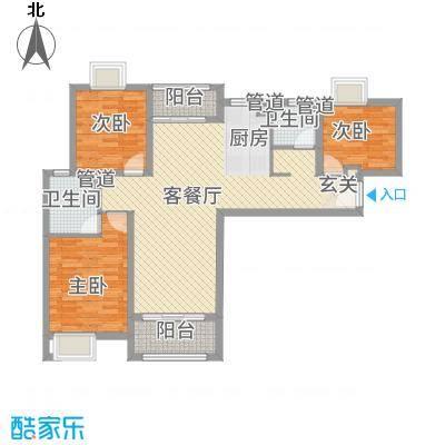 扬州国际公馆118.20㎡二期B1户型3室2厅2卫1厨
