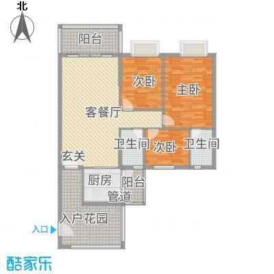 金泰瑞和园124.14㎡G栋一单元04、二单元05号房3室户型3室2厅2卫1厨