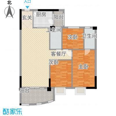 金泰瑞和园127.72㎡E栋一单元02、二单元01号房3室户型3室2厅2卫1厨