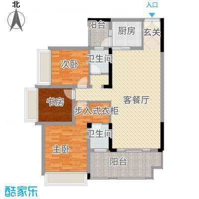花滩国际新城丁香郡117.17㎡高层C27、8号楼2/5号房户型3室2厅2卫1厨