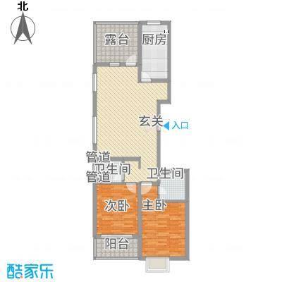 龙昌新座・中央公馆112.62㎡标准层A-2户型2室2厅2卫1厨