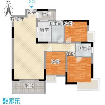 梓山湖领御116.42㎡8#J户型3室2厅2卫1厨