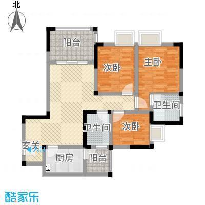 南方・大学时代一期清华苑C1双卫双阳台户型3室3厅2卫
