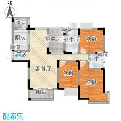 中旅蓝岸国际143.00㎡7、8、12#04户型3室2厅2卫1厨