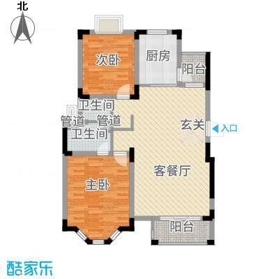 中旅蓝岸国际小高层标准层户型2室2厅2卫1厨