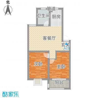 广枫名苑83.80㎡A户型2室1厅1卫1厨