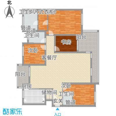 星屿仁恒182.60㎡1、8号楼D户型4室2厅3卫1厨