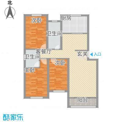 天圣华庭132.00㎡户型3室2厅1卫1厨