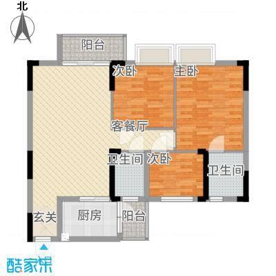 勒水名筑113.32㎡6栋1梯3-10层02户型3室2厅2卫1厨