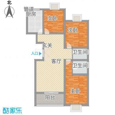 爱西华庭128.00㎡户型3室