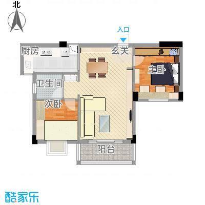 昌润・嘉和苑88.60㎡D户型2室2厅1卫1厨-副本
