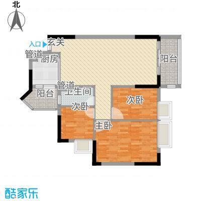 美的简岸花园84.31㎡晴轩5栋四-十八层06单元户型
