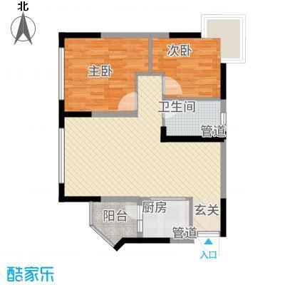 美的简岸花园67.34㎡晴轩5栋四-十八层04单元户型