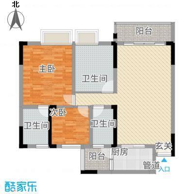 勒水名筑111.40㎡6栋2梯3-10层03户型3室2厅3卫1厨