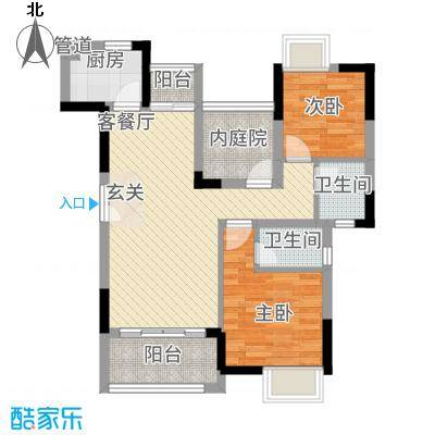 三水奥林匹克花园84.00㎡3、4栋01单元户型2室2厅1卫1厨