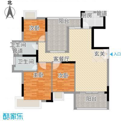 三水奥林匹克花园142.00㎡6栋02单元户型4室2厅2卫1厨