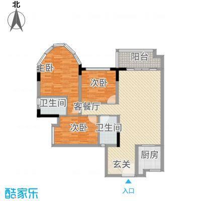 茗雅荟128.00㎡二期A01单位户型3室2厅2卫1厨