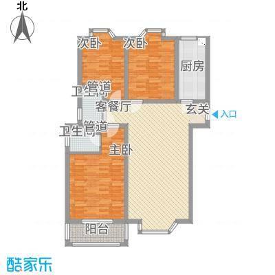 铜城丽都14.38㎡2#(8-26层户型3室2厅2卫1厨