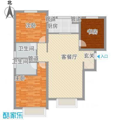 万科城117.00㎡万科城户型图A2-A5#楼117平户型3室2厅2卫1厨户型3室2厅2卫1厨-副本