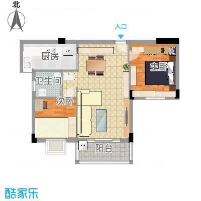 昌润・嘉和苑88.60㎡D户型2室2厅1卫1厨