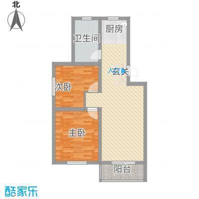 江岸水城户型2室2厅1卫1厨