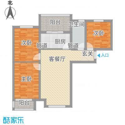 恒基现代城111.00㎡18#楼三居户型3室2厅1卫1厨-副本