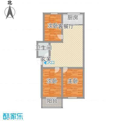 良东花园1.22㎡L户型3室2厅1卫1厨