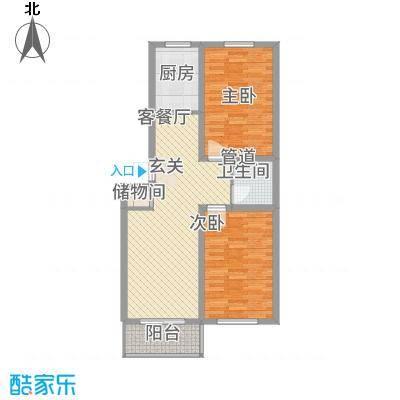 良东花园5.22㎡F户型2室2厅1卫1厨