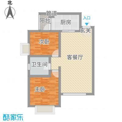 傣泐金湾三期悦江苑8.00㎡D2-户型2室2厅1卫1厨