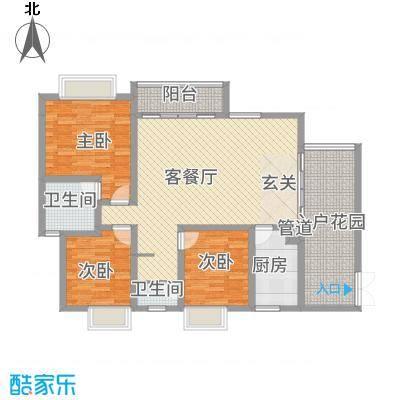 傣泐金湾三期悦江苑124.00㎡D1-户型3室2厅2卫1厨