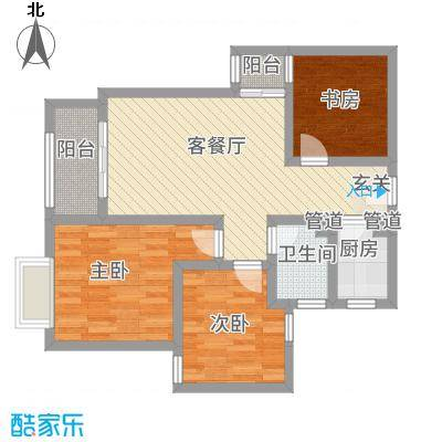 宝安江南城别墅86.00㎡高层海景公馆C1户型3室2厅1卫
