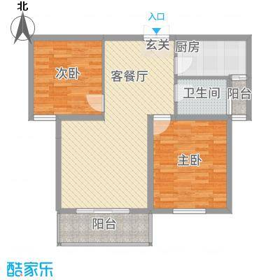 维多利亚花园83.72㎡西区C3格调雅室户型2室2厅1卫1厨