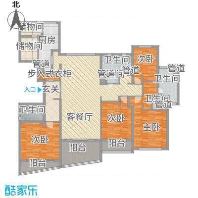 裕沁庭288.00㎡B(E)3#户型4室2厅5卫1厨