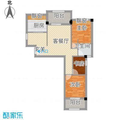 永鸿御珑湾63.20㎡6#楼C户型3室2厅1卫1厨