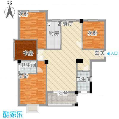 滨江星城114135.16㎡1号户型4室2厅2卫1厨
