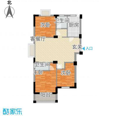 滨江星城2113111.25㎡2号户型3室2厅2卫1厨