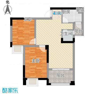 荣润凯旋名城81.48㎡一期C户型2室2厅1卫1厨