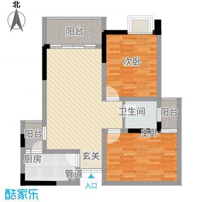 荣润凯旋名城81.25㎡一期E户型2室2厅1卫1厨