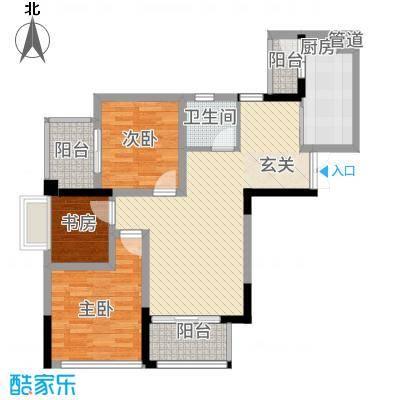 荣润凯旋名城2.27㎡一期D户型3室2厅1卫1厨