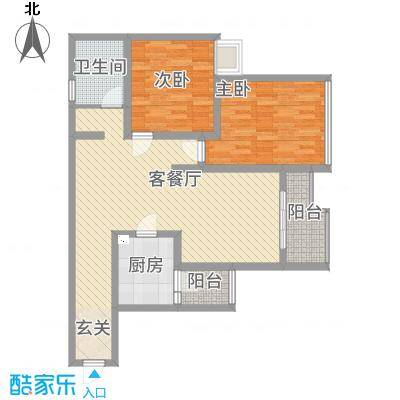 中恒・江南第一城三期8.72㎡C17-C20#楼标准层D-b户型2室2厅1卫1厨