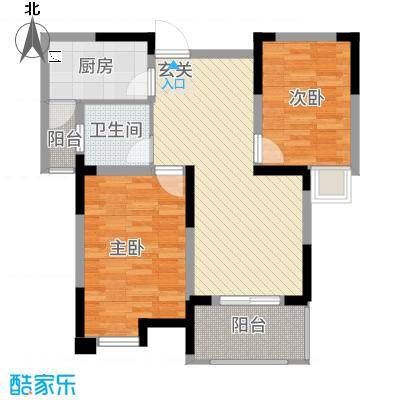 永华滨江名城85.20㎡一期8#楼D户型2室2厅1卫1厨